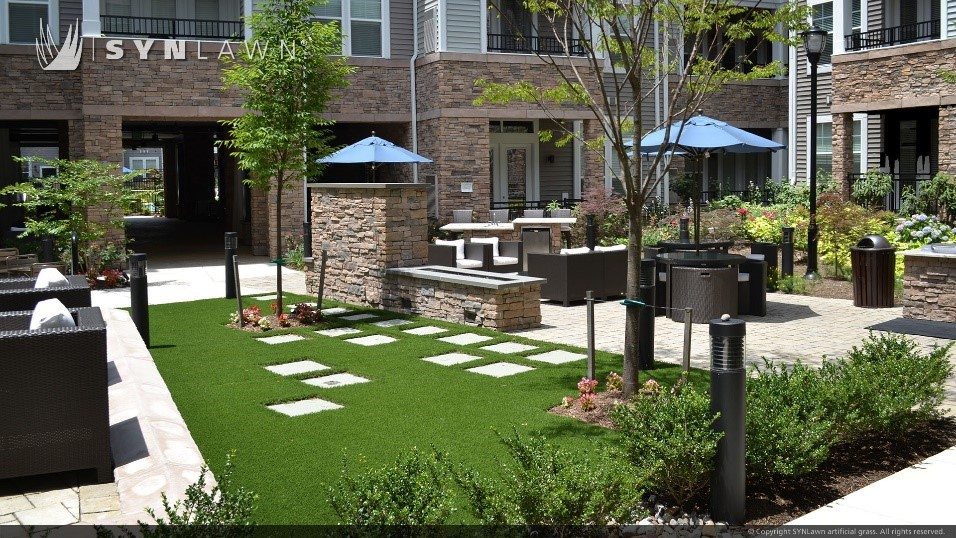 commercial artificial turf in an apartment courtyard