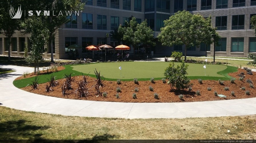 artificial turf landscaping at an office park