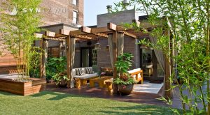 Artificial grass landscaping on a backyard patio