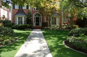 Artificial landscape turf at Oklahoma home